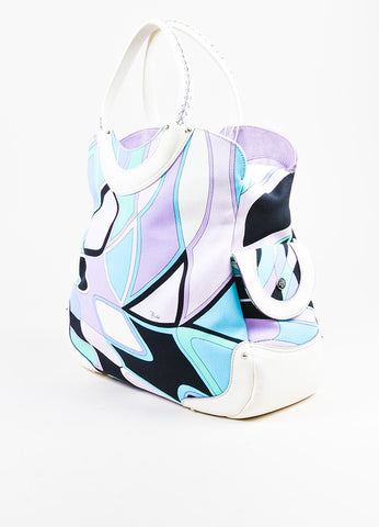 Emilio Pucci White, Lavender, and Teal Canvas Leather Trim Printed Pockets Handbag Sideview