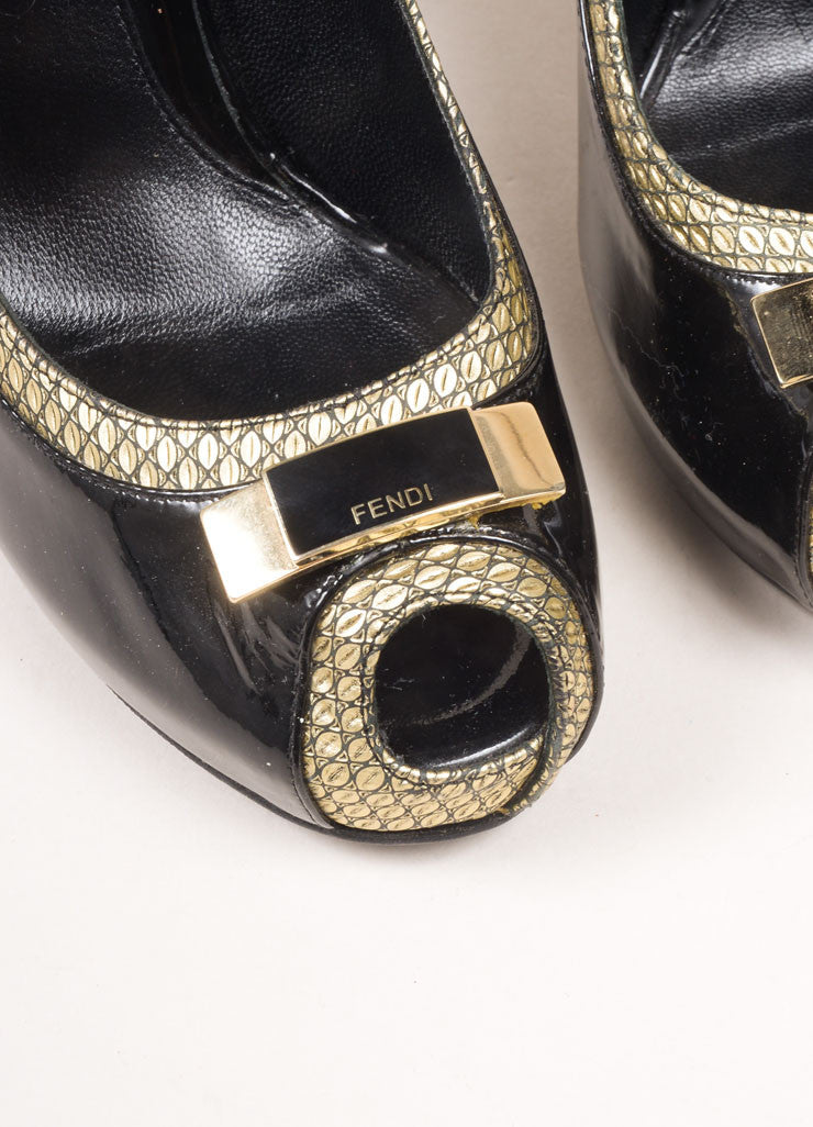 Fendi Black and Gold Toned Patent Leather Metallic Trim Bow Peep Toe Pumps Detail