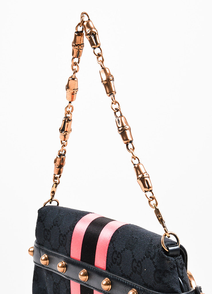 Black and Pink Gucci Canvas Horsebit Detail Convertible Clutch Bag Detail 3