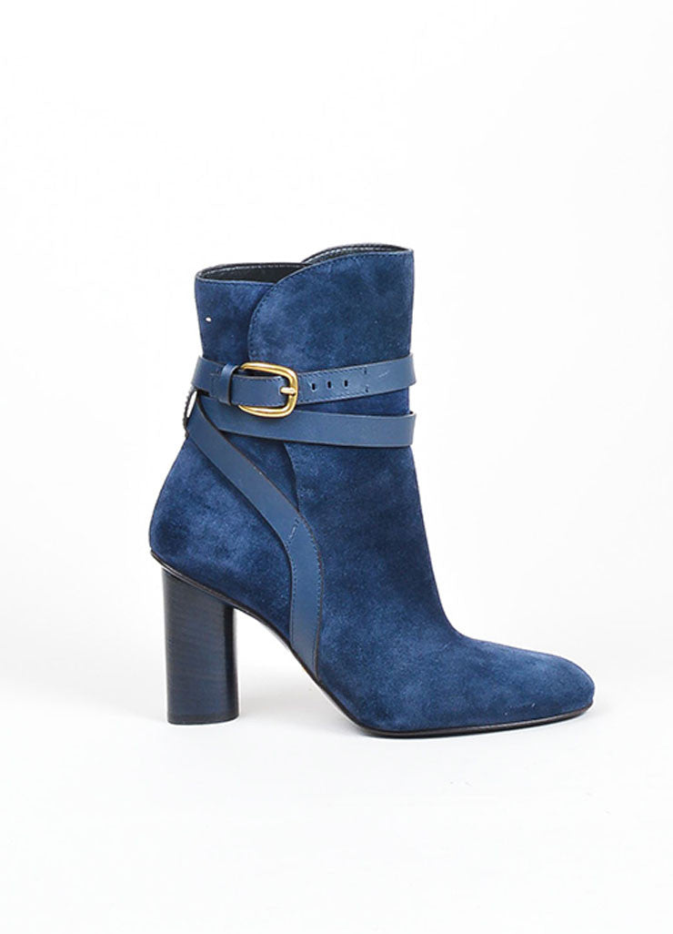 "Navy Blue Gucci Suede Crisscross Strap ""Abigail"" Ankle Boots Sideview"