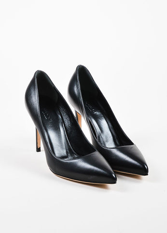 "Black Gucci Leather Pointed Toe Stiletto Heel ""Brooke"" Pumps Front"