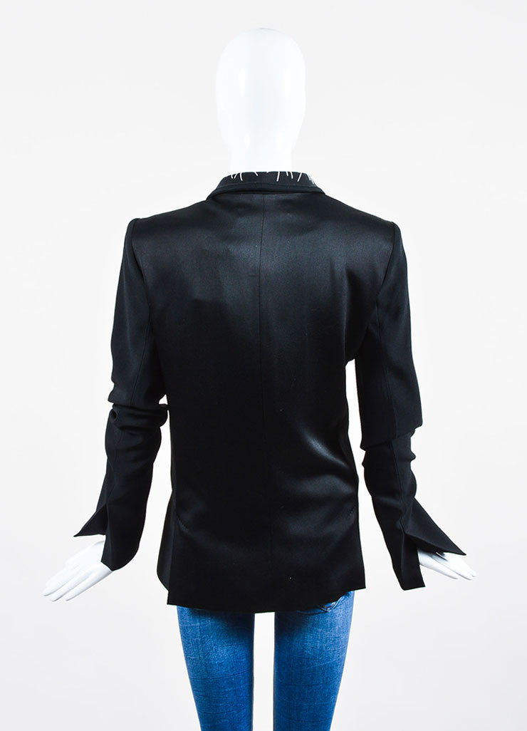 Black Haider Ackermann Ribbed Crepe Topstitched Blazer Backview
