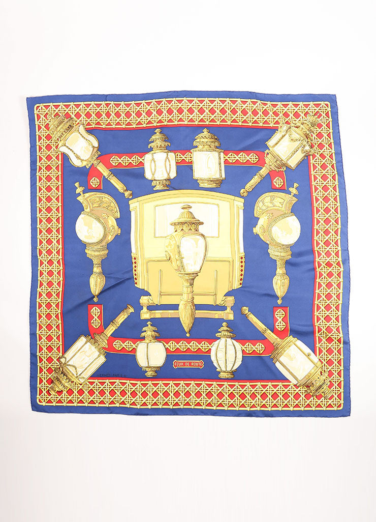 "Hermes Blue, Red and Gold Silk Lantern Print ""Feux de Route"" Scarf Frontview"