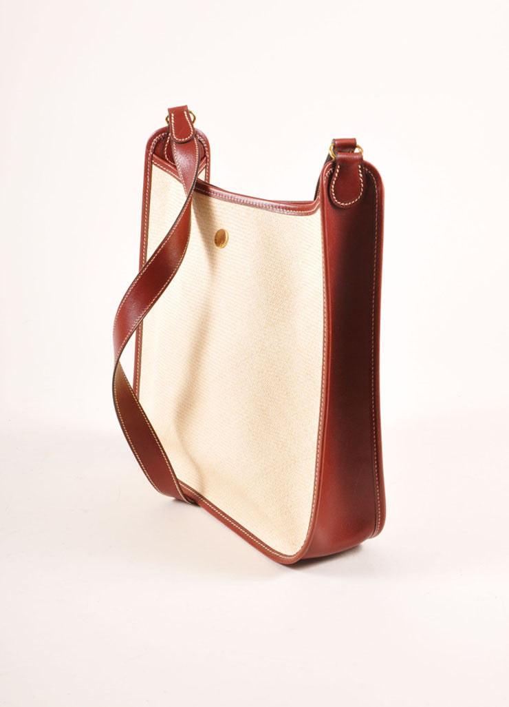 "Hermes Cream and Brown Raffia and Leather Toggle ""Vespa"" Shoulder Bag Sideview"