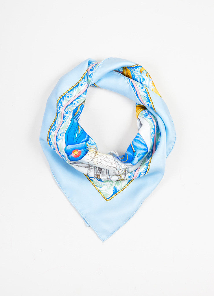 "Hermes Light Blue and Multicolor Nautical Print ""Vive le Vent"" Scarf Frontview"