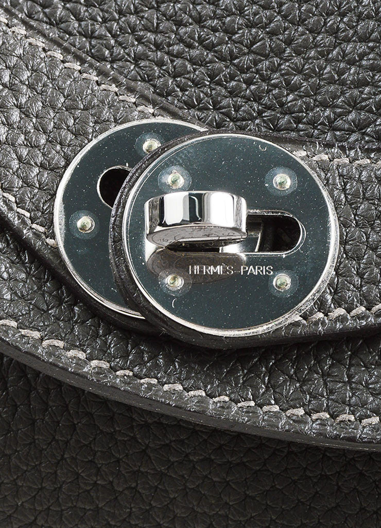 "Hermes Graphite and Etoupe Taurillon Clemence Leather ""Lindy 26"" Handbag detail 3"
