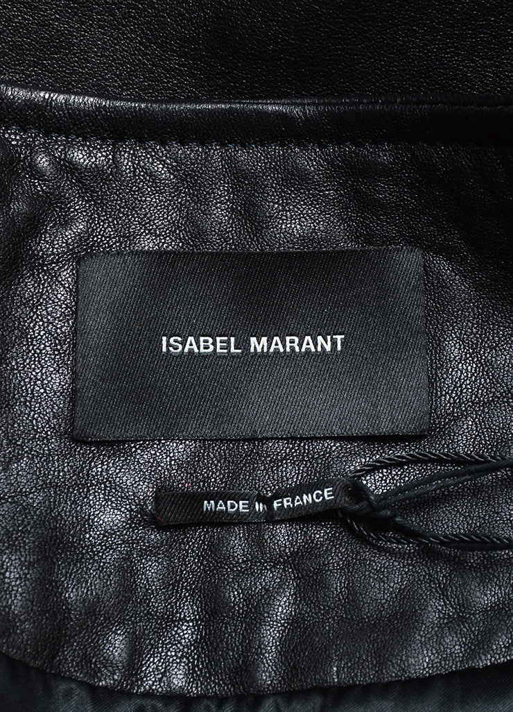 "Black Isabel Marant Leather ""Audric"" Moto Jacket Brand"