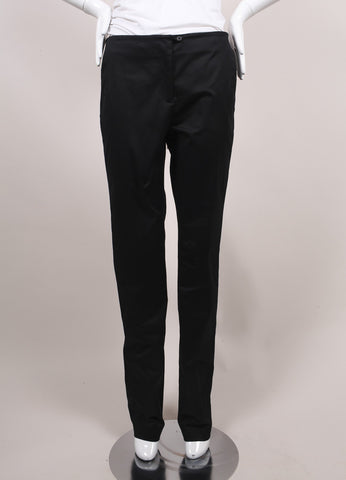 "Jil Sander New With Tags Black Sateen Cotton Straight Leg ""Giulio"" Trousers Frontview"