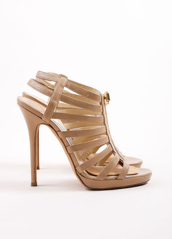 "Jimmy Choo Beige Leather Cage Zipper Platform Heel ""Glenys"" Sandals Sideview"