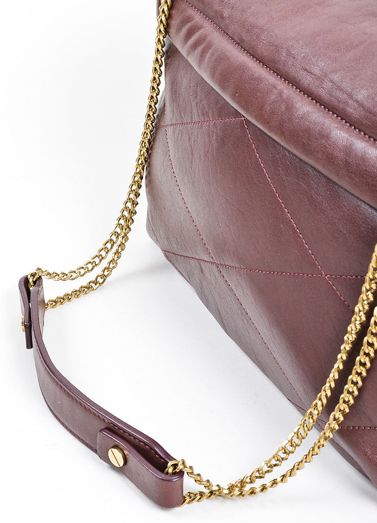 "Oxblood Red Lanvin Lambskin Leather Chain Strap ""Medium Sugar"" Flap Bag Detail 2"
