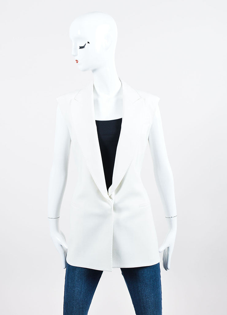 White Lanvin Woven Wool Button Tailored Vest Frontview