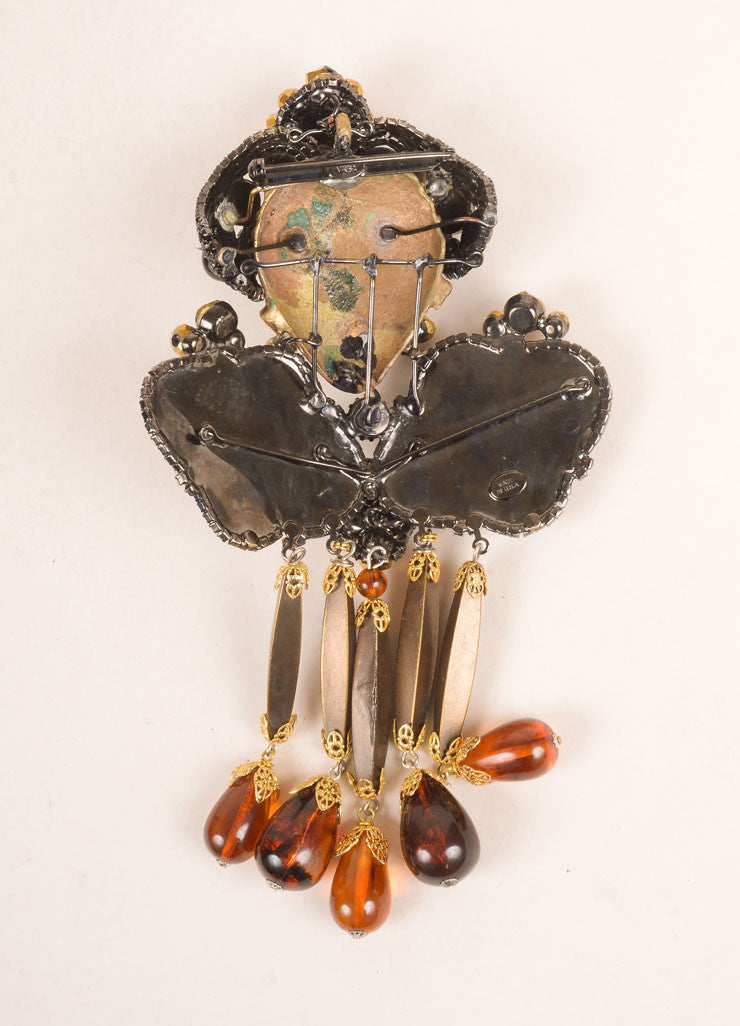 Lawrence Vrba Bronze Toned and Multicolor Beaded Rhinestone Face Necklace and Brooch Pin Backview Pin