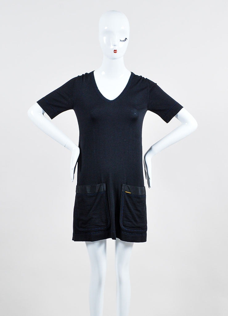 Black Louis Vuitton Wool and Cashmere Knit Short Sleeve V Neck Shirt Dress Frontview