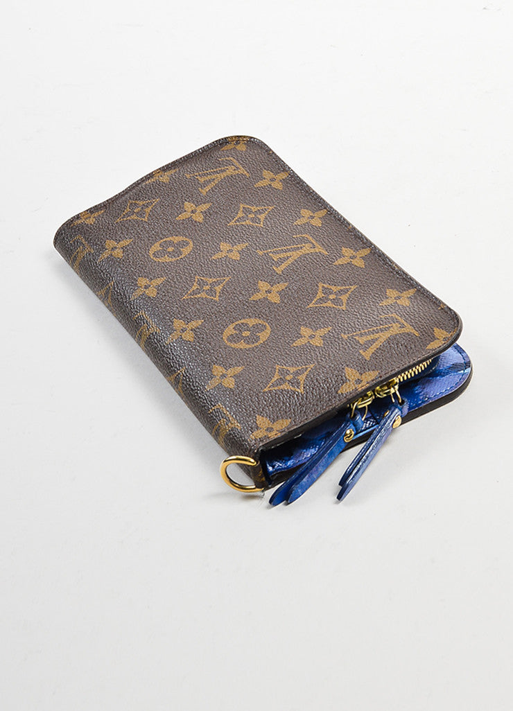 "Brown and Blue Louis Vuitton Coated Canvas Monogram ""Ikat Insolite"" Wallet Backview"