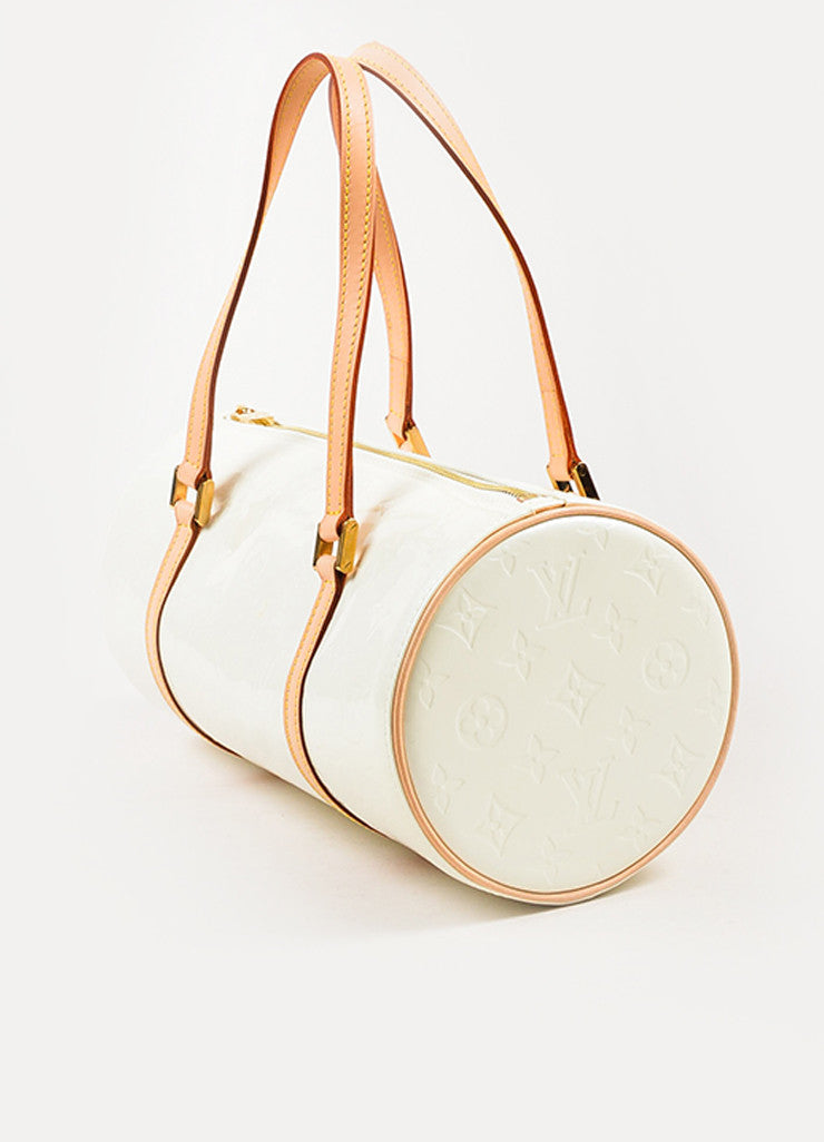 "Louis Vuitton Cream Monogram Vernis Leather ""Bedford"" Duffel Bag Sideview"