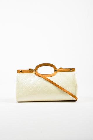 "Cream Louis Vuitton ""Perle"" Leather Monogram ""Roxbury Drive"" Bag Front"