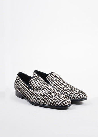 Men's Dolce & Gabbana White Brown Houndstooth Loafer Shoes Front