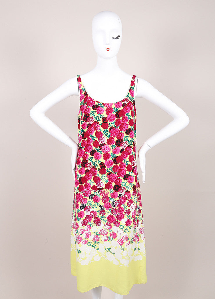Marc Jacobs New With Tags Yellow and Pink Floral Print Sleeveless Scoop Neck Crepe Dress Frontview