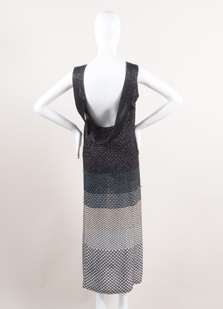 Missoni New With Tags Black, Silver, and White Metallic Knit Sleeveless Maxi Dress Backview