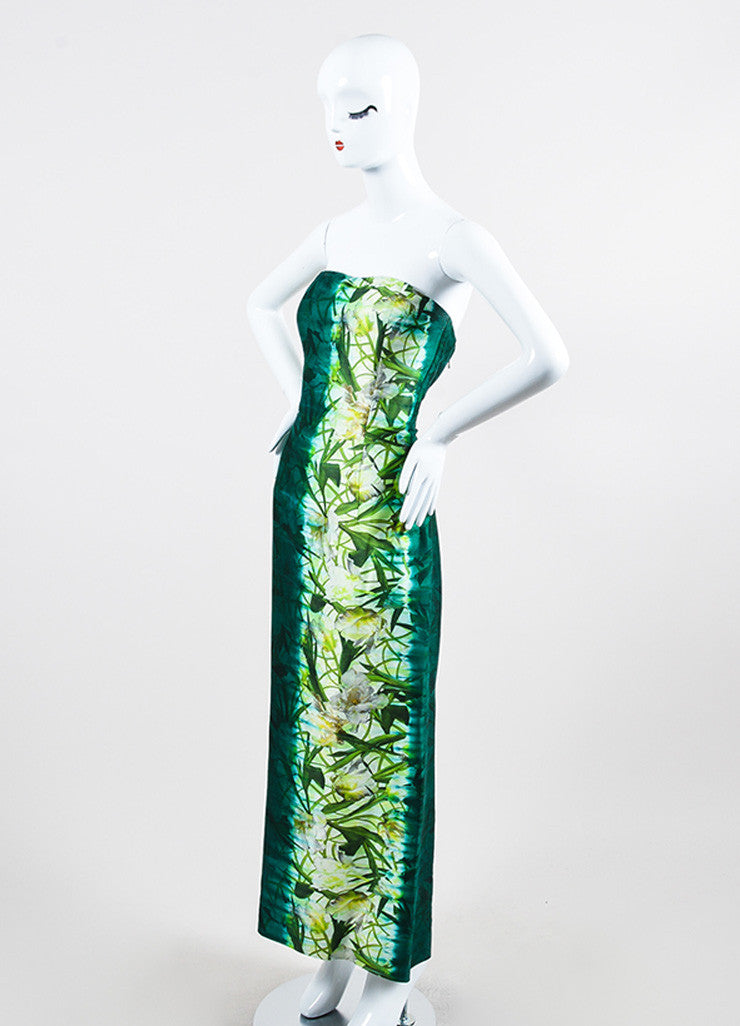 Green Oscar de la Renta Cotton and Silk Floral Print Strapless Gown Sideview