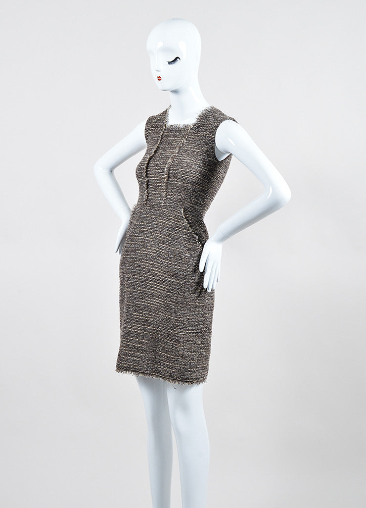 Brown, Grey, and Cream Oscar de la Renta Square Neckline Sleeveless Tweed Dress Sideview