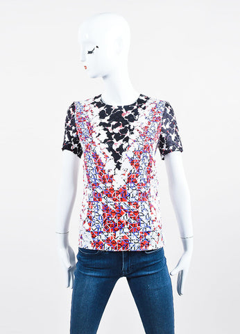 White, Black, Blue, and Red Silk Jacquard Geometric Short Sleeve Top Frontview