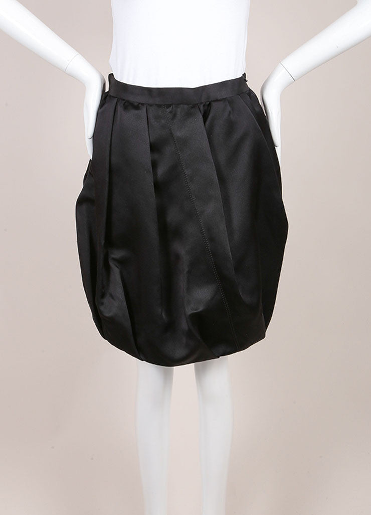 Prada Black Silk Bubble Skirt  Frontview