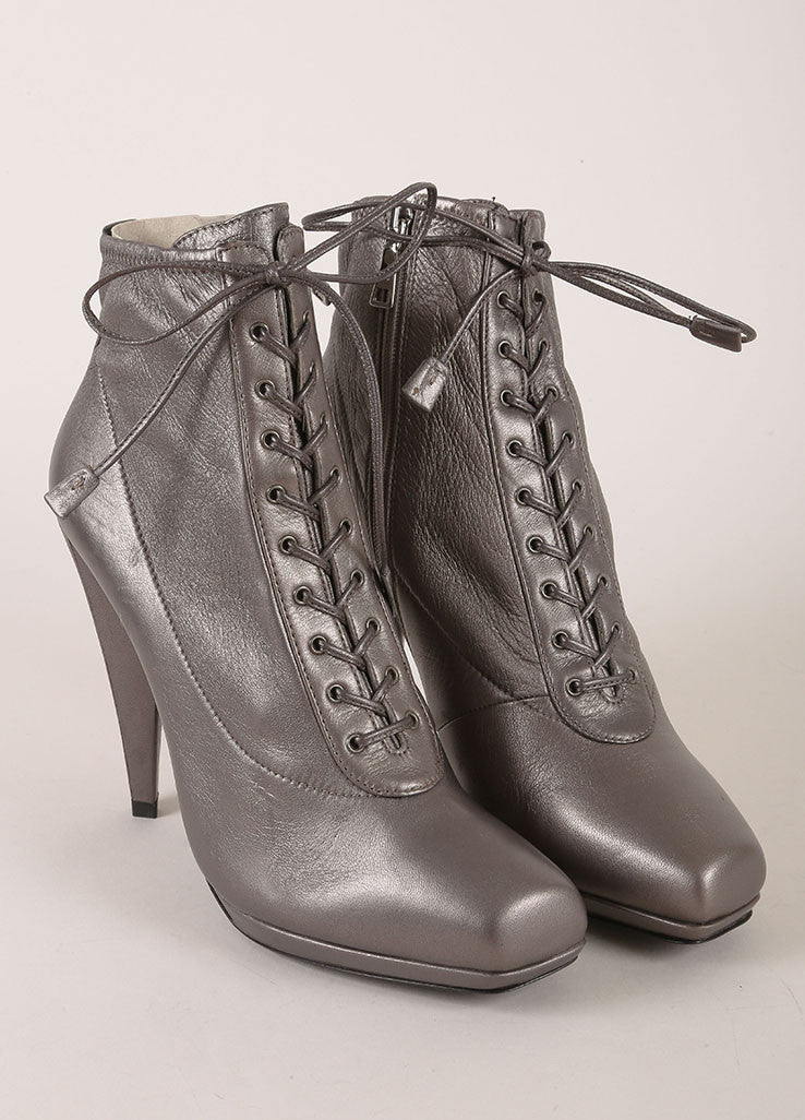 Prada Grey Metallic Leather Lace Up Square Toe Heeled Ankle Boots Frontview