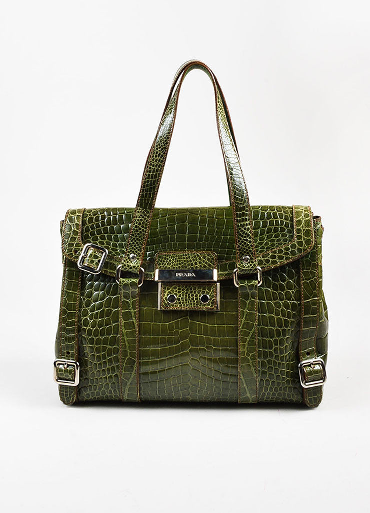 "Prada Green Genuine Crocodile ""Lucido Lock Flap"" Satchel Shoulder Bag Frontview"