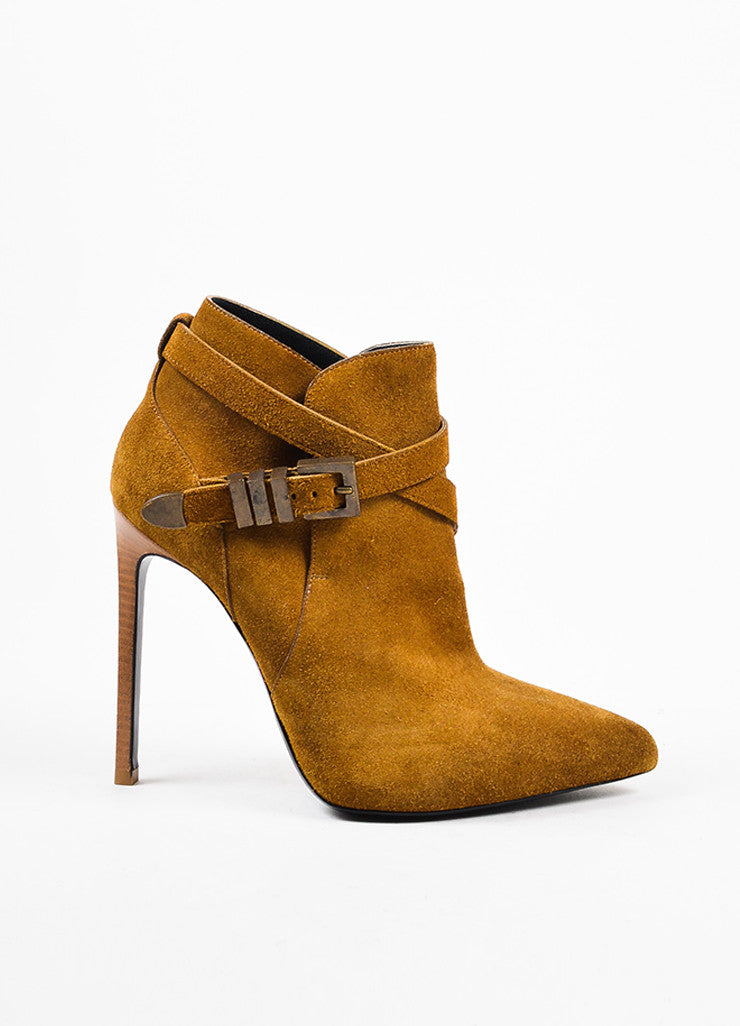 Saint Laurent Tan Suede Leather Pointed Toe Stiletto Wrap Ankle Boots Sideview