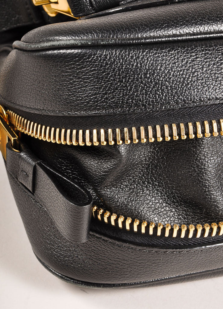 "Tom Ford Black and Gold Toned Chunky Zip Flap Leather ""Jennifer"" Cross Body Bag Detail"