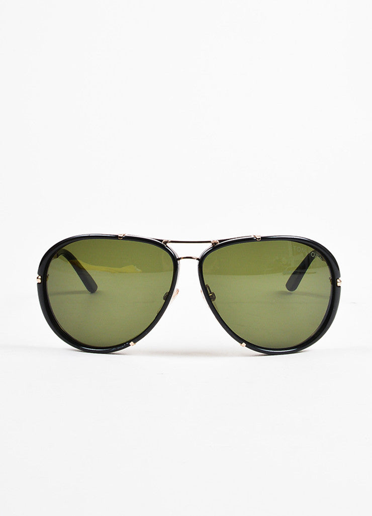 "Tom Ford Black and Gold Toned Frame Aviator ""Cyrille"" Sunglasses Frontview"