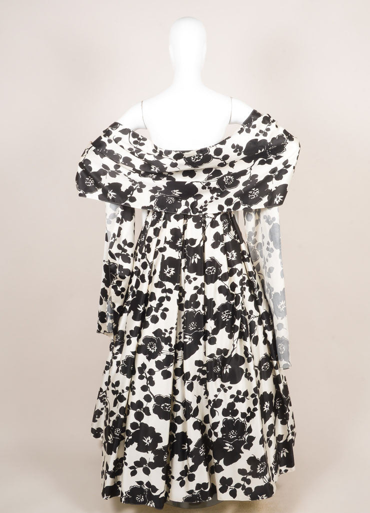 Two by Rosa Clara Cream and Black Floral Print Ruched Strapless Gown Backview