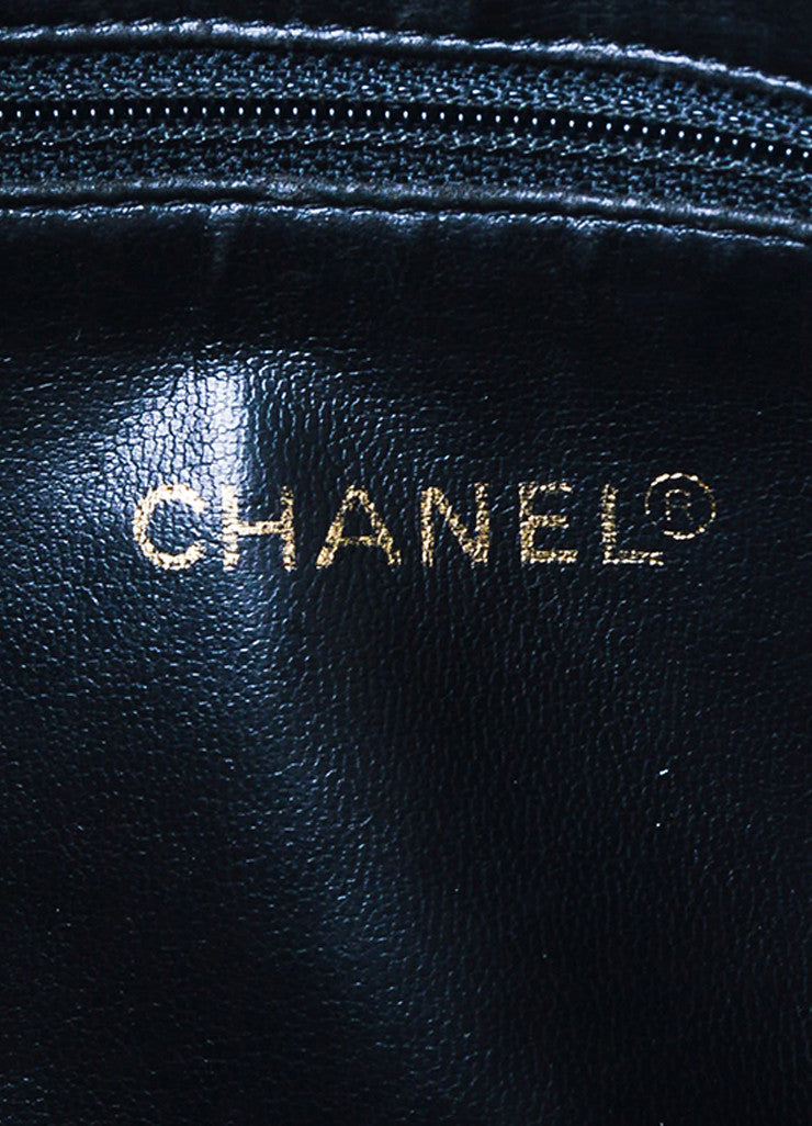 Chanel Black and Gold Toned Caviar Leather 'CC' Twist Lock Shoulder Bag Brand