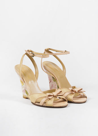 Valentino Tan Leather and Raffia Floral Embroidered Ankle Strap Wedges Frontview