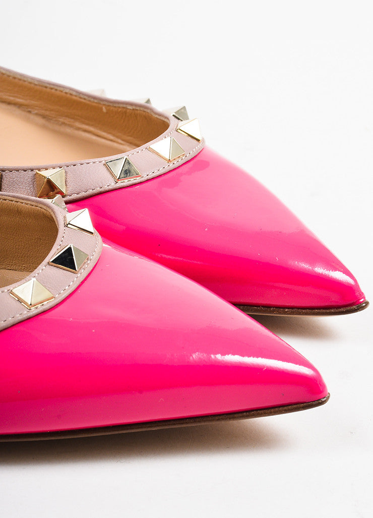 "Valentino Pink and Gold Toned Patent Leather ""Rockstud"" Flats Detail"