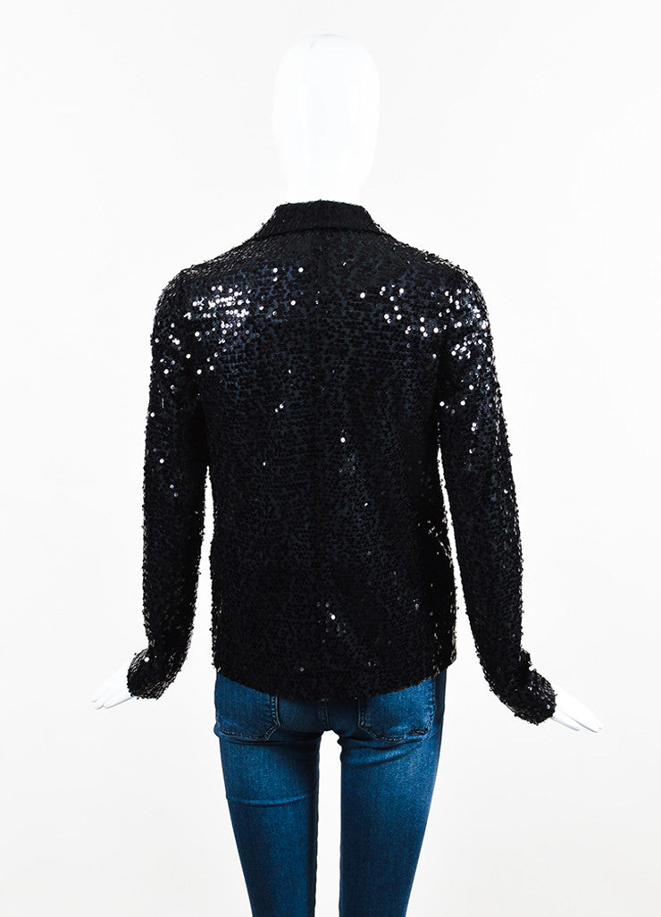 Black Victoria Beckham Sequin Evening Jacket With Pin Back