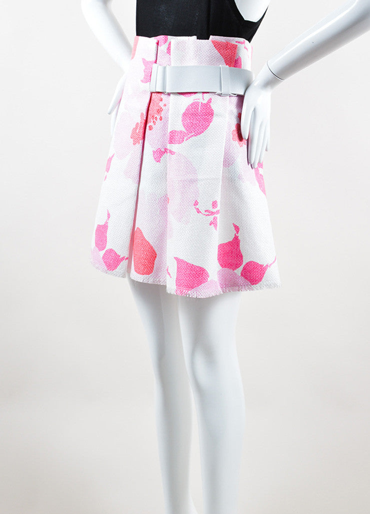 Victoria Beckham White and Pink Woven Raffia Floral Belted Skirt  Sideview