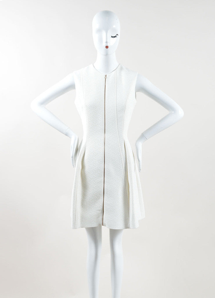 Victoria Beckham Cream Textured Zip Up Pleated Sleeveless Dress Frontview