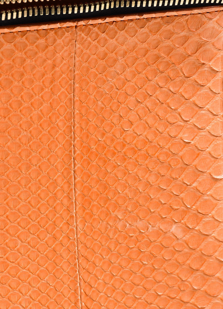 Orange Victoria Beckham Python and Buffalo Zip Oversized Pouch Clutch Bag Detail 3