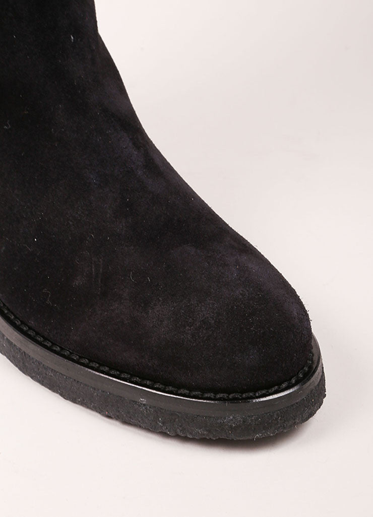 "Vince New In Box Black Suede Leather Knee High Flat ""Coleton"" Boots Detail"