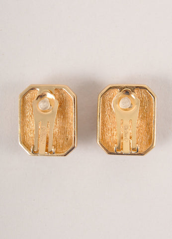 Christian Dior Gold Toned and Black Rhinestone Rectangle Earrings Backview