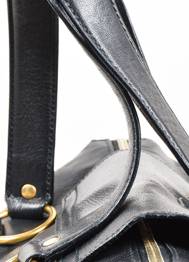 "Yves Saint Laurent Rive Gauche Black Leather ""Muse Messenger"" Satchel Bag Detail 2"