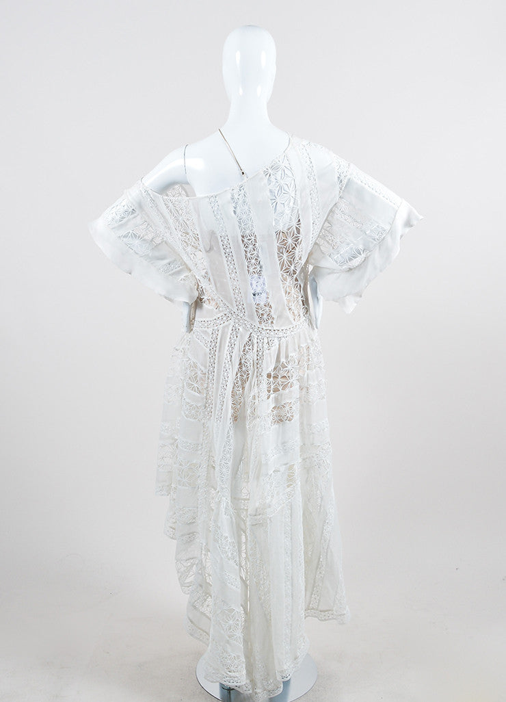 Zimmermann Tarot Celestial White Silk One Shoulder High Low Dress Backview