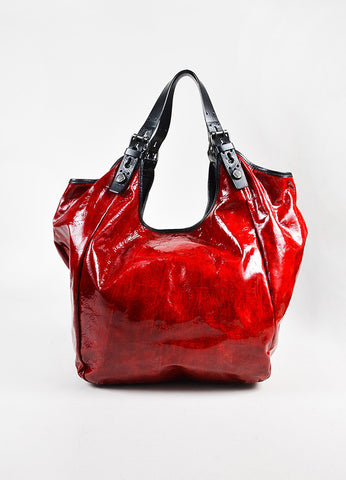 "Givenchy Red ""Sacca"" Patent Leather Hobo Bag Front"