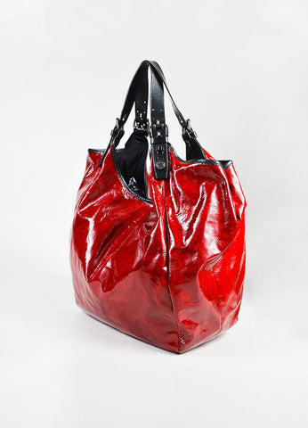 "Givenchy Red ""Sacca"" Patent Leather Hobo Bag Back"