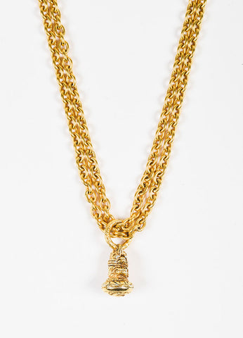 Chanel Gold Toned Chain Link Double Strand Pendant Necklace Detail