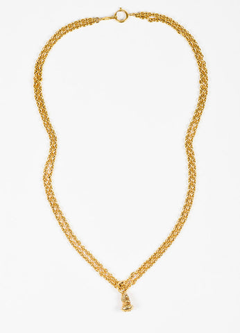 Chanel Gold Toned Chain Link Double Strand Pendant Necklace Frontview