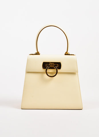 "Salvatore Ferragamo ""Kelly"" Cream Leather Single Handle Bag Front"
