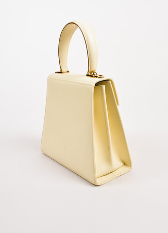 "Salvatore Ferragamo ""Kelly"" Cream Leather Single Handle Bag Back"